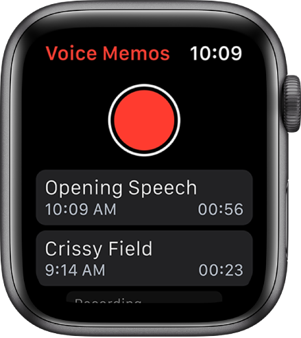 Apple Watch showing the Voice Memos screen. A red Record button appears near the top. Two recorded memos appear below. They display the time they were recorded and their length.