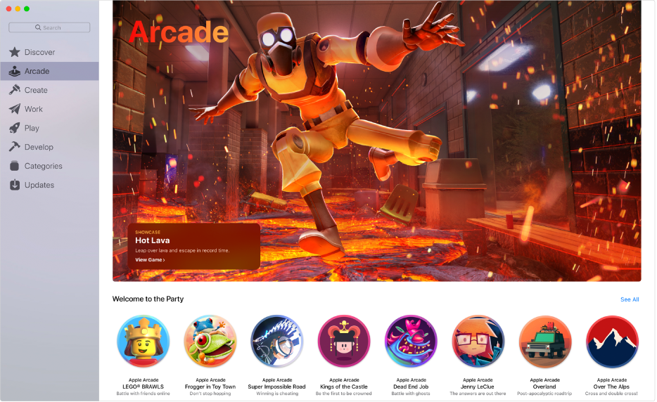 The main Apple Arcade page. To access it, click Arcade in the sidebar on the left.