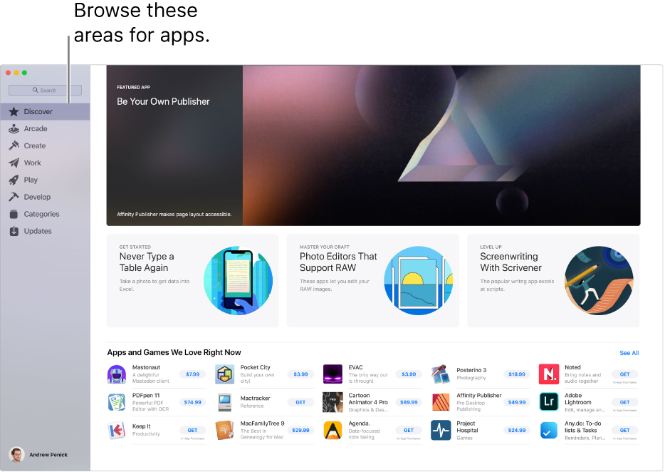 The main Mac App Store page. The sidebar on the left includes links to other pages: Discover, Arcade, Create, Work, Play, Develop, Categories, and Updates. On the right are clickable areas including Behind the Scenes, From the Editors, and Editors' Choice.