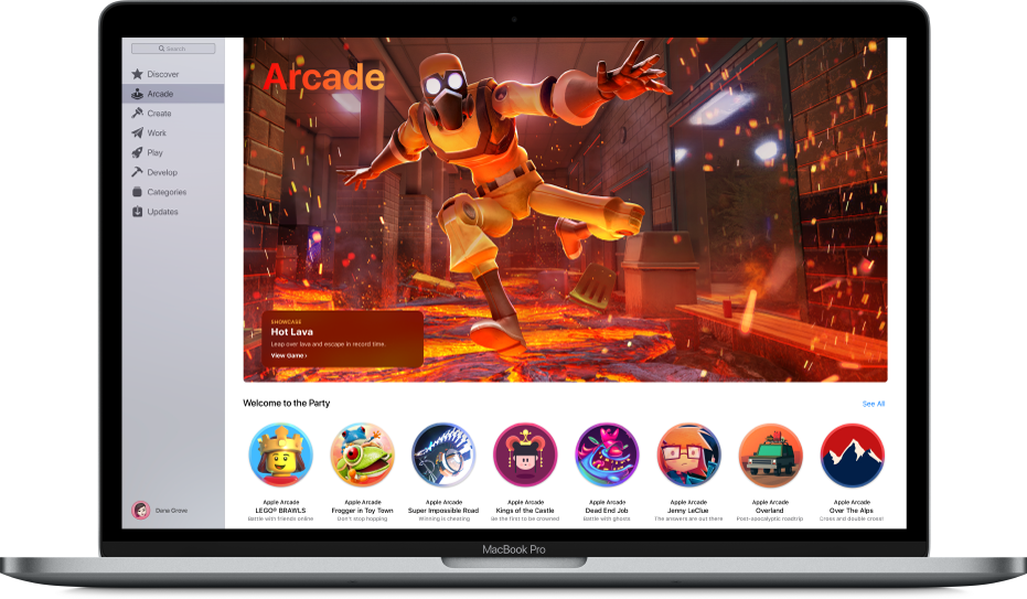 La page principale d'AppleArcade.