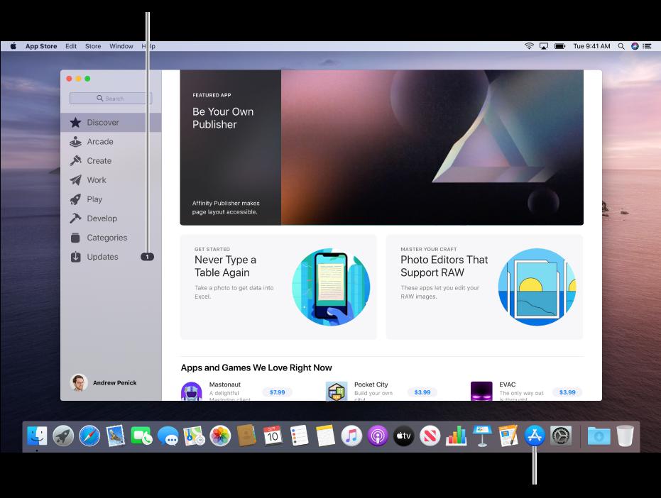 Glavni prozor trgovine App Store s oblačićem koji identificira tipku Ažuriranja u rubnom stupcu i drugim oblačićem koji identificira App Store ikonu u Docku.