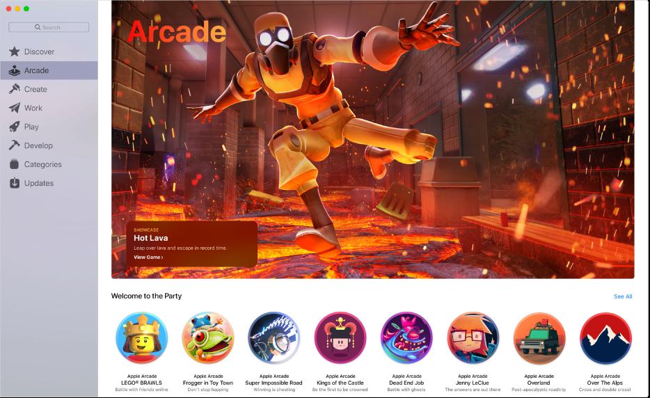 Trang Apple Arcade chính. Để truy cập vào trang, hãy bấm vào Arcade trong thanh bên ở bên trái.