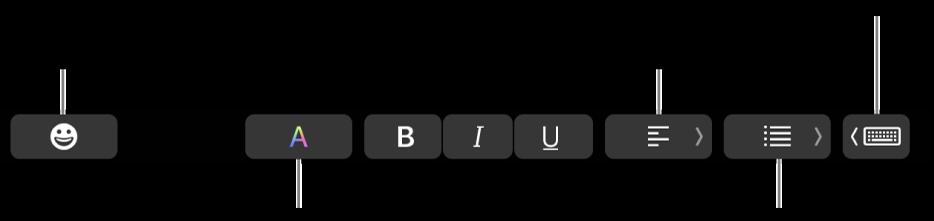 """Die TouchBar mit Tasten der App """"Mail"""", zu denen (von links nach rechts) folgende gehören: Emoji, Farben, Fett, Kursiv, Unterstrichen, Ausrichtung, Listen, Schreibvorschläge"""