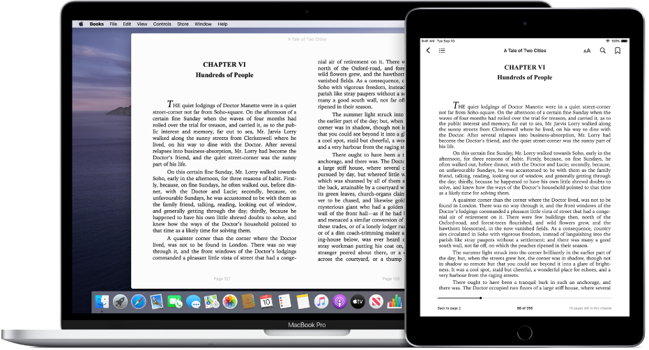 A book on the same page in the Books app on an iPad and a Mac.