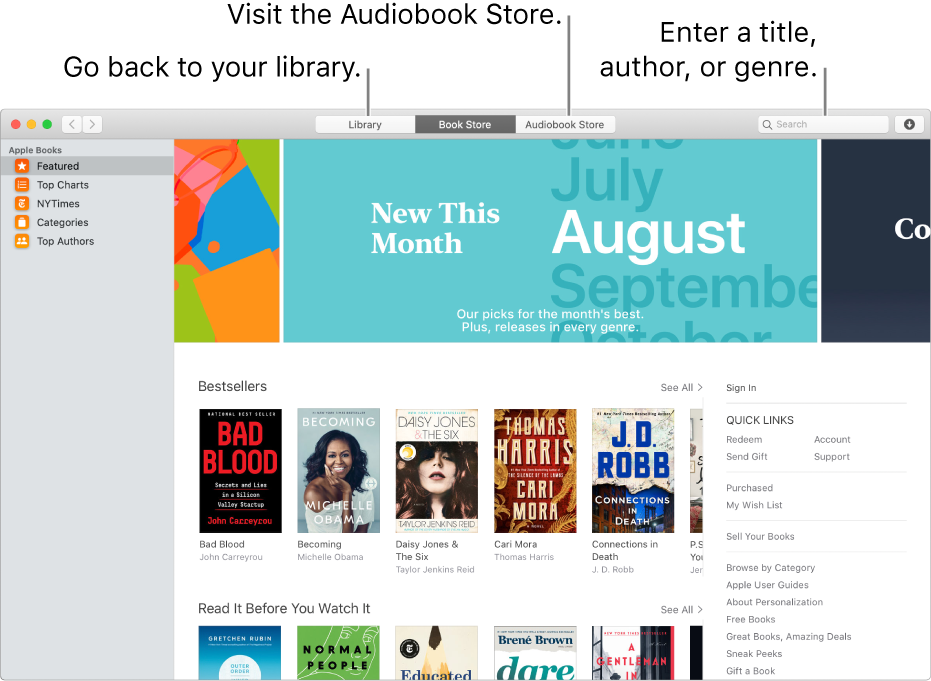 The toolbar in the Book Store. Click Library to go back to your library.