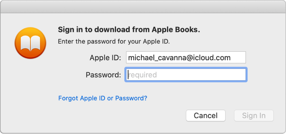 The dialog to sign in using an Apple ID and password.