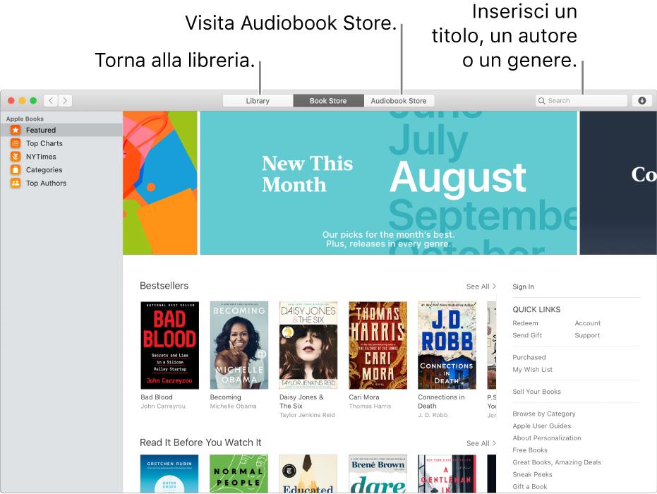 La barra degli strumenti in Book Store. Fai clic su Libreria per tornare alla libreria.