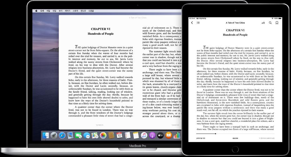 iPad와 Mac의 도서 앱에서 같은 페이지에 있는 책.