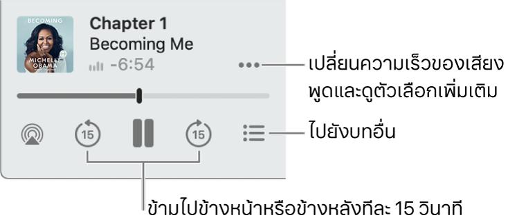 เครื่องเล่นหนังสือเสียงใน Apple Books ที่แสดงปุ่มตัวเลือกเพิ่มเติม (ใกล้กับมุมขวาบนสุด) ปุ่มสารบัญ (ใกล้กับมุมขวาล่างสุด) และปุ่มข้ามไปข้างหน้าและข้ามไปข้างหลัง (ใกล้กับด้านซ้ายล่างและขวาล่าง)