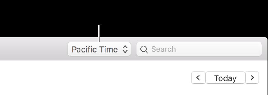 Das Zeitzonenmenü wird links neben dem Suchfeld angezeigt, wenn du die Zeitzonenunterstützung aktivierst