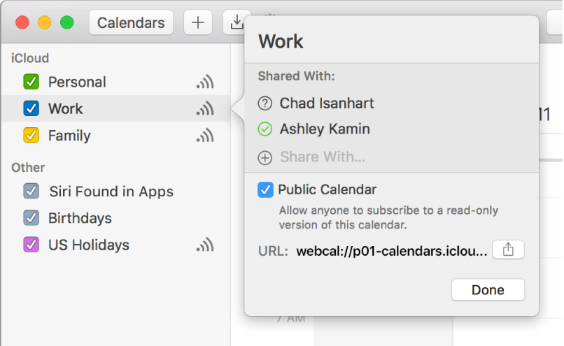 Sharing Settings window with two people invited to share and the Public Calendar option selected