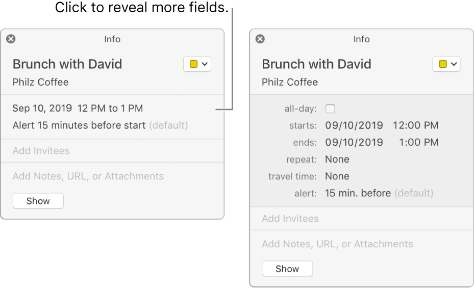 The image on the left shows an unexpanded Info window for an event. On the right, the Info window for the same event is expanded to show additional fields, such as starts, ends, repeat, and travel time.