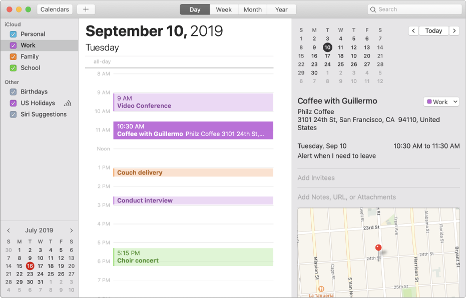 A Calendar window in Day view showing color-coded personal, work, family, and school calendars in the sidebar under the iCloud account heading.