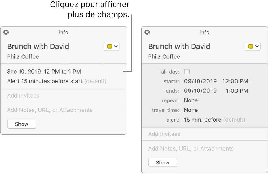 Fenêtre d'informations d'un événement avec les détails masqués (à gauche), puis la même fenêtre d'informations avec les détails relatifs à la durée affichés (à droite).