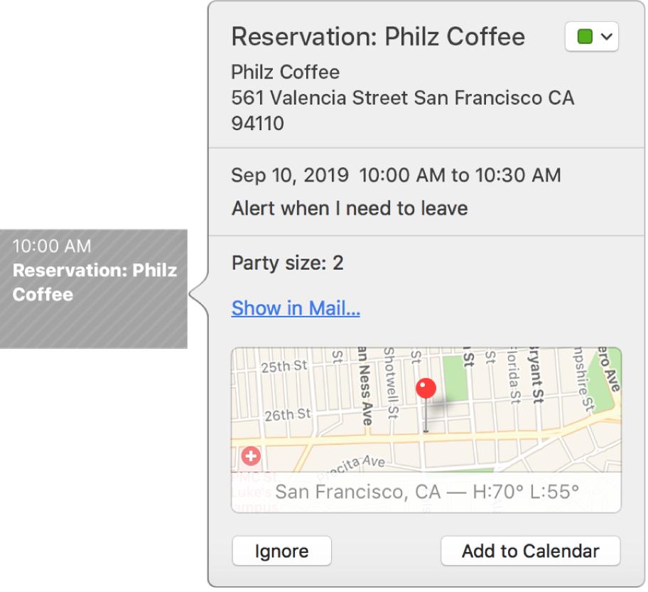 Aktivitetsfönstret i Kalender för en aktivitet som hittats i ett program, t.ex. Mail.