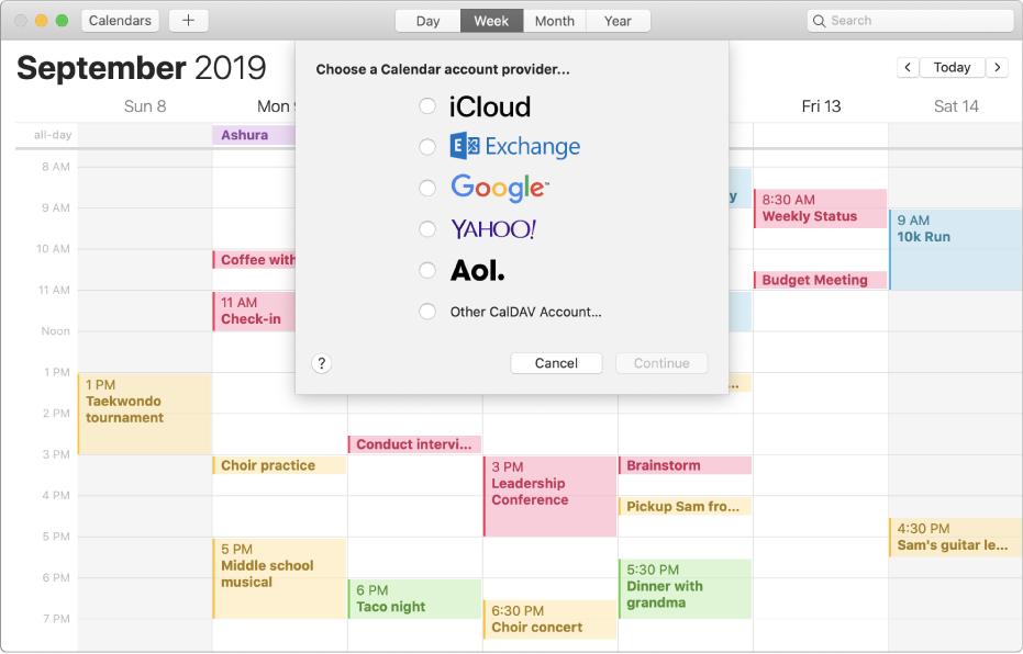 顯示「加入帳户」面板的「日曆」視窗。