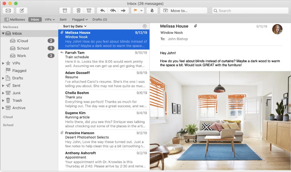 Indholdsoversigten i Mail-vinduet, der viser indbakker til iCloud-, skole- og arbejdskonti.