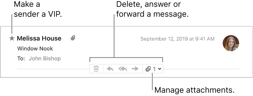 A message header showing a star next to the sender's name for making the sender a VIP, and buttons for deleting, answering and forwarding a message and for managing attachments.