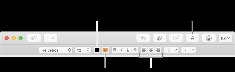 La barra de herramientas y de formato en la ventana de un nuevo mensaje indicando el color del texto, el color del fondo y los botones de alineación de texto.