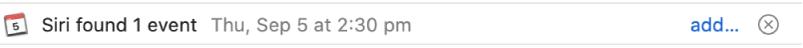 Se muestra información sobre un evento que Siri encontró en el mensaje en una tira debajo del encabezado de mensaje en el área de vista previa. En el extremo derecho se encuentra un enlace para agregar el evento a Calendario.