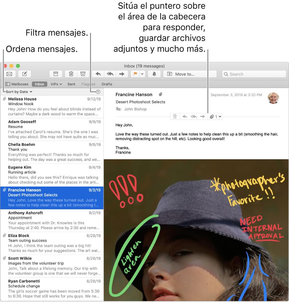 """La ventana de Mail. Haz clic en """"Ordenar por fecha"""" encima de la lista de mensajes para cambiar cómo se ordenan los mensajes. Arrastra la barra de separación para mostrar más o menos de los mensajes. Mueve el puntero sobre el área de cabecera de un mensaje para mostrar botones que permiten responder, guardar archivos adjuntos, etc."""