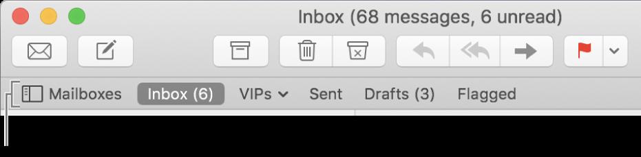 Bar Favorit menampilkan tombol Kotak Mail dan tombol untuk Inbox, VIP, Terkirim, Draf, dan kotak mail Berbendera.