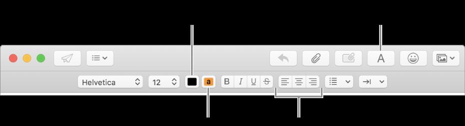 新規メッセージウインドウのツールバーとフォーマットバー。テキストの色、テキストの背景色、およびテキストの配置のボタンが表示されています。