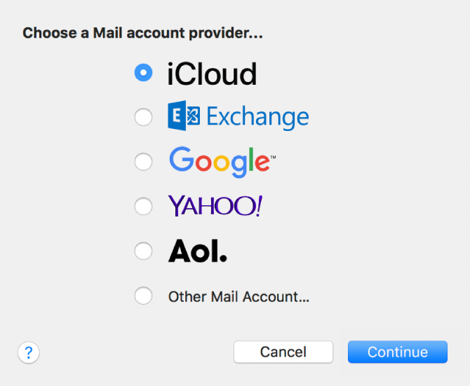 iCloud, Exchange, Google, Yahoo, AOL 및 다른 Mail 계정을 표시하는 이메일 계정 유형 선택 대화상자.