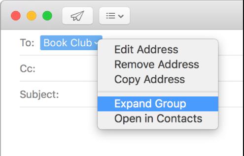 Een e-mail met een groep in het veld 'Aan' en het venstermenu met het commando 'Toon adressen van groepsleden'.