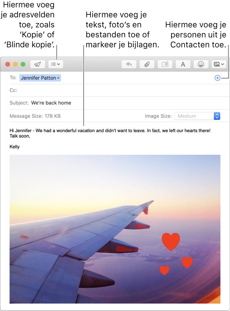 Een venster voor het opstellen van een bericht met de knop 'Koptekstvelden', de knop met het plusteken in een adresveld voor het toevoegen van personen vanuit Contacten, en een afbeelding met annotaties in de berichttekst.