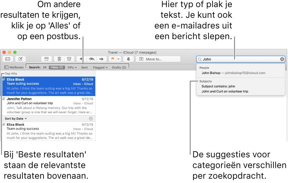 De postbus waarin wordt gezocht, wordt gemarkeerd in de zoekbalk. Om in een andere postbus te zoeken, klik je op de naam van die postbus. Je kunt tekst in het zoekveld typen of plakken of je kunt een e-mailadres uit een bericht slepen. Tijdens het typen worden suggesties onder het zoekveld weergegeven. Deze suggesties worden, afhankelijk van je zoektekst, ingedeeld in categorieën (zoals 'Onderwerp' of 'Bijlagen'). De meest relevante resultaten staan bovenaan, bij 'Beste resultaten'.