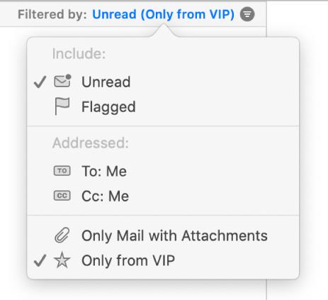 Het filtervenstermenu geeft zes mogelijke filters weer: 'Ongelezen', 'Gemarkeerd', 'Aan: Mij', 'Kopie: Mij', 'Alleen mail met bijlagen' en 'Alleen van vip'.