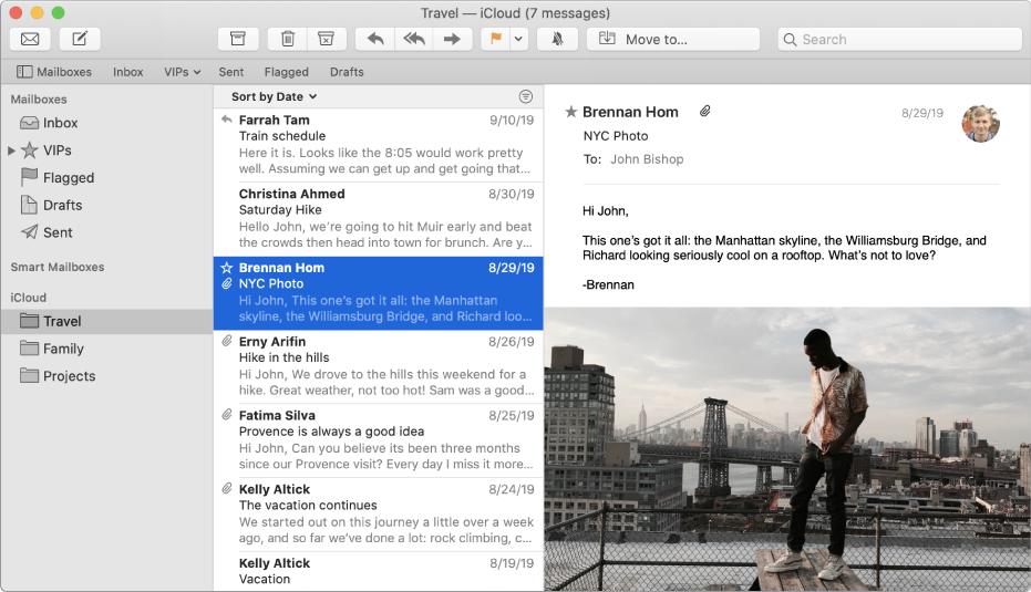 Боковое меню в окне программы«Почта» с несколькими почтовыми ящиками для учетной записи iCloud.
