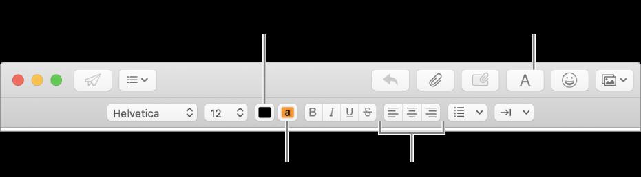 Verktygsfältet och formateringsfältet i ett nytt mejlfönster som indikerar textfärg, textens bakgrundsfärg och textjusteringsknappar.