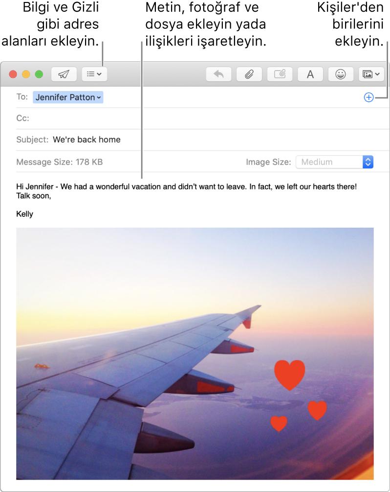 Başlık Alanları düğmesini, Kişiler'den kişi eklemek için adres alanındaki Ekle düğmesini ve ileti gövdesindeki bir işaretlenmiş görüntüyü gösteren yeni ileti penceresidir.