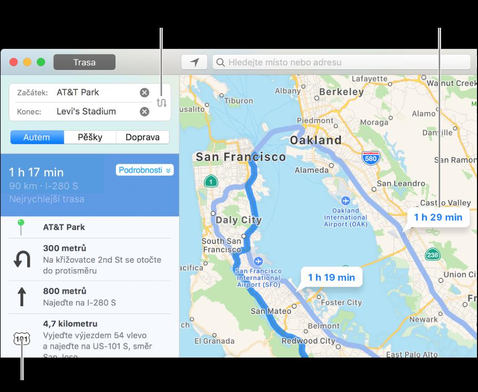 Kliknete‑li na bočním panelu vlevo na některý krok na trase, příslušné místo na mapě se přiblíží. Na mapě vpravo můžete kliknout na alternativní trasu.