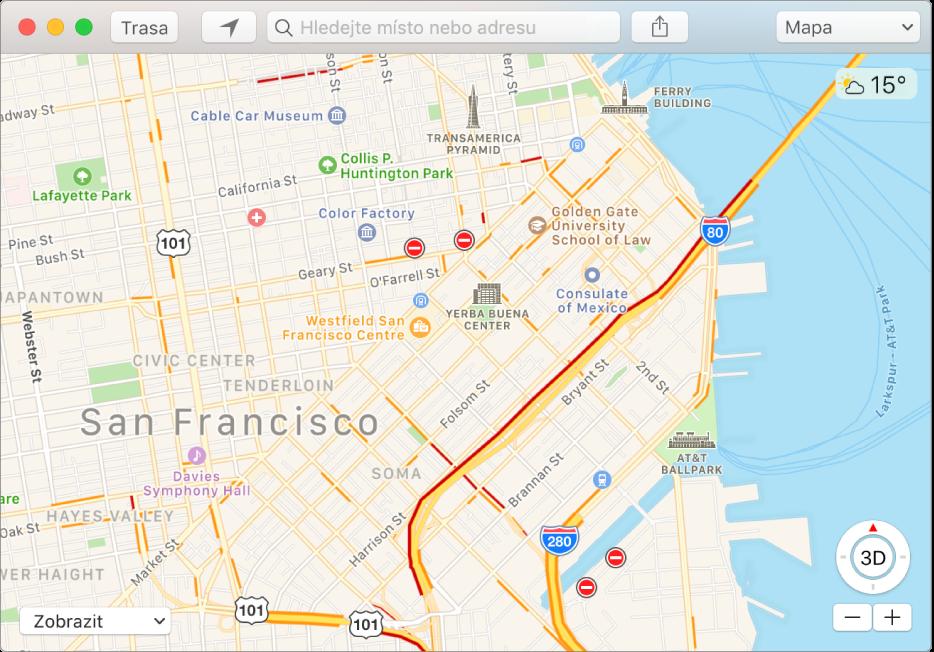 Okno aplikace Mapy informující prostřednictvím ikon na mapě odopravní situaci.
