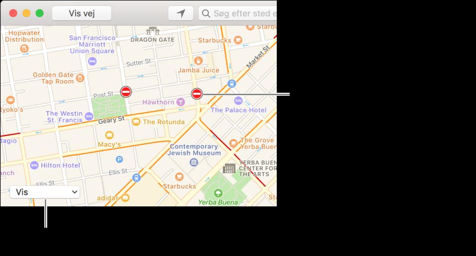 Klik på lokalmenuen Vis, og vælg derefter Vis trafik for at se aktuelle trafikforhold.