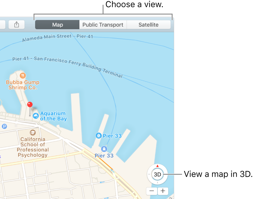 Click Map or Satellite in the toolbar to change your view. To view a map in 3D, click the button at the bottom of the window.