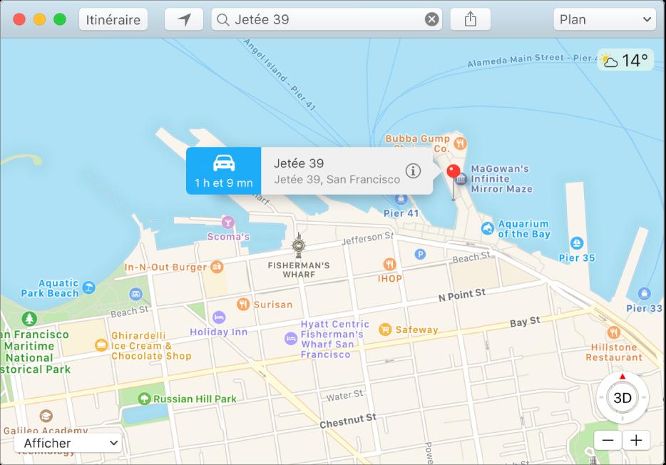 Fenêtre d'informations pour un repère sur le plan affichant l'adresse du lieu et le temps de trajet estimé à partir de votre position.