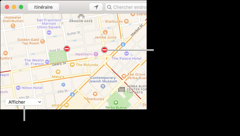 Cliquez sur le menu local Afficher, puis choisissez Afficher la circulation pour afficher les conditions actuelles de circulation.