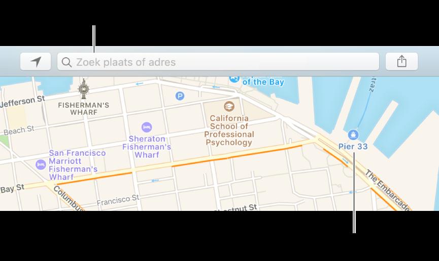 Typ een locatie in het zoekveld of klik op het veld om recente zoekacties te tonen. Klik op een oriëntatiepunt of speld om details te bekijken.