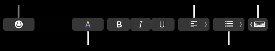 Touch Bar med knapper fra Mail-programmet, som inkluderer – fra venstre mot høyre – Emoji, Farger, Uthevet, Kursiv, Understreket, Justering, Lister og Skriveforslag.