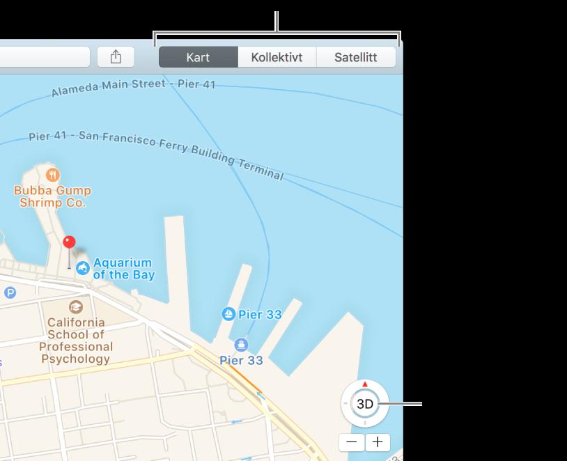 Klikk på Kart eller Satellitt i verktøylinjen for å endre visning. Hvis du vil se kartet i 3D, klikker du på knappen nederst i vinduet.