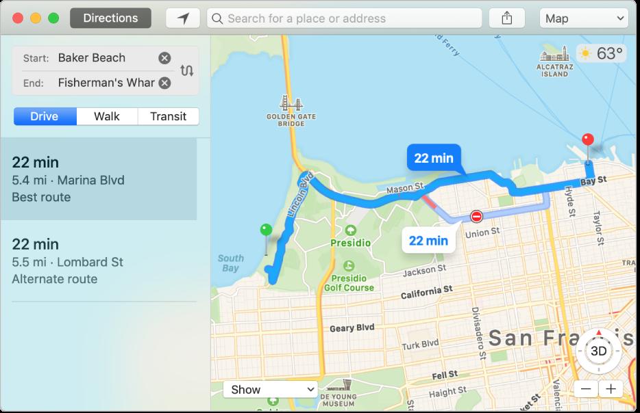 Bir varış noktasına yol tarifinin gösterildiği Harita penceresi.