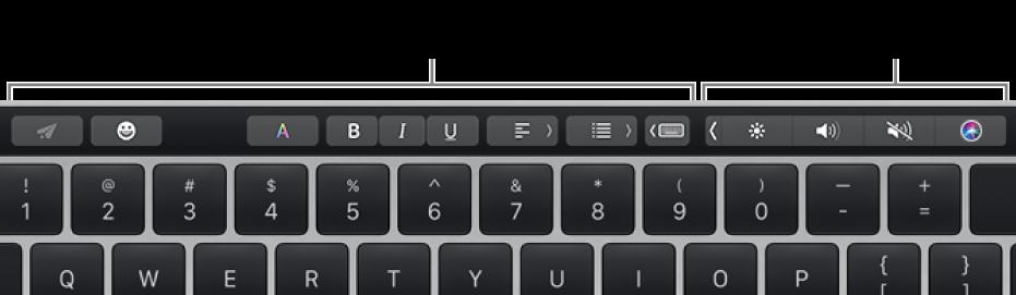 Touch Bar với các nút thay đổi theo ứng dụng hoặc tác vụ ở bên trái và Control Strip được thu gọn ở bên phải.