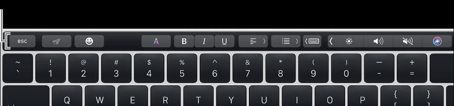 横贯键盘顶部的触控栏。