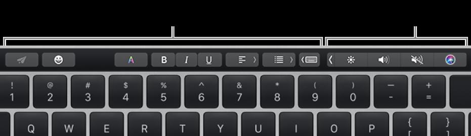 包含按钮的触控栏,因左侧的 App 或任务和右侧折叠的功能栏而异。