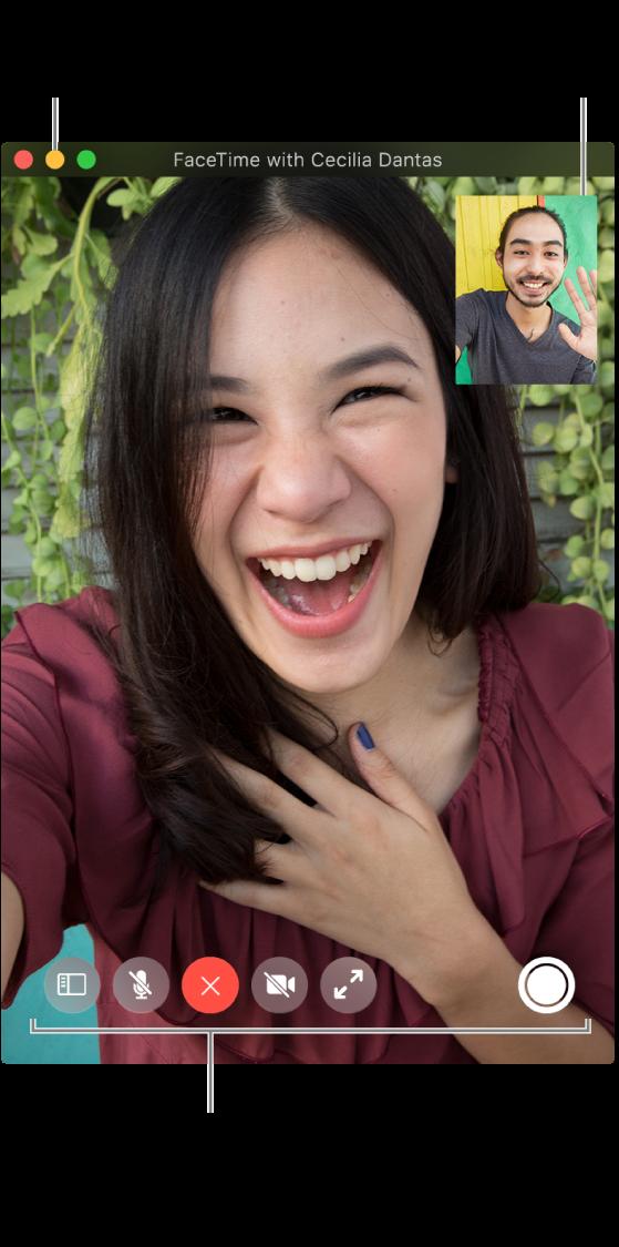 Plaats de aanwijzer op het FaceTime-venster om alle opties voor gesprekken te bekijken, zoals de navigatiekolom, 'Geluid uit', 'Hang op', 'Schakel geluid van video uit' en 'Schermvullend' en 'Live Photo'-knoppen. Klik linksboven op de middelste knop om het gespreksvenster te verbergen. Het picture-in-picture-venster wordt rechtsboven weergegeven.