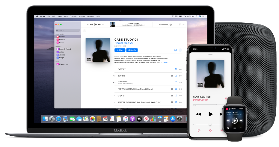 A song playing on a Mac, iPhone, and Apple Watch, with a HomePod .